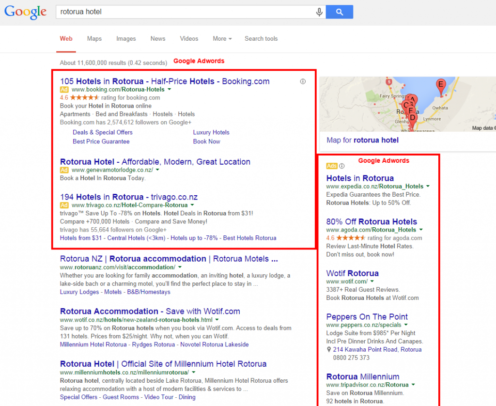 Rotorua Search Engine Marketing. The accommodation industry was one of the early adopters.